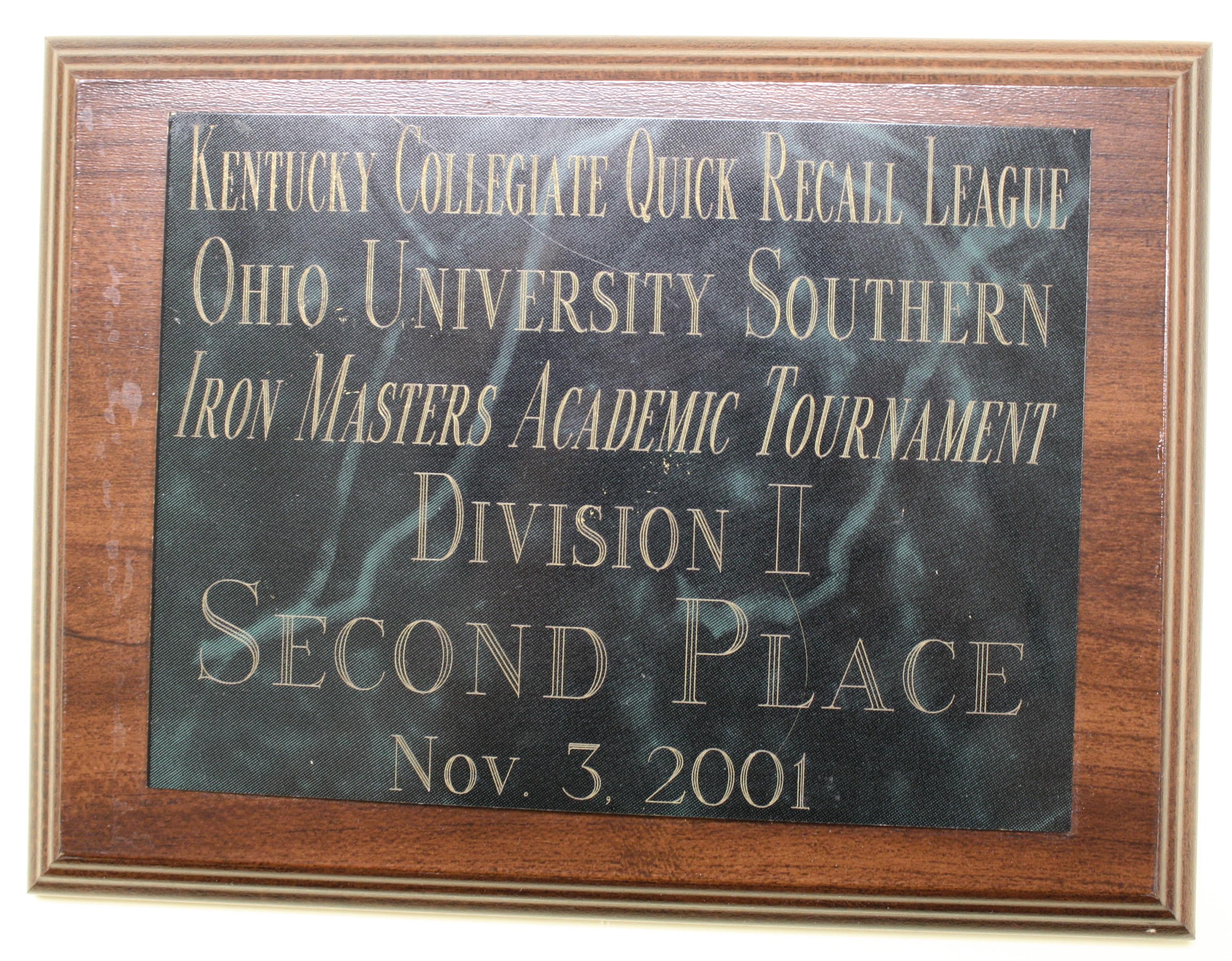 Academic Team Plaque 1